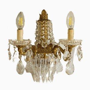 Apliques italianos estilo Imperio vintage de latón dorado, años 50. Juego de 3