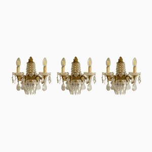 Vintage Empire Style Italian Golden Brass Sconces, 1950s, Set of 3