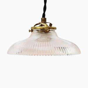 Lámpara colgante industrial vintage de vidrio de Holophane, años 50