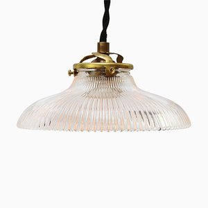 Vintage Industrial Glass Pendant Lamp from Holophane, 1950s