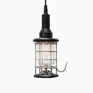 Vintage Industrial Black Rubber and Clear Glass Pendant Lamp from Stahl