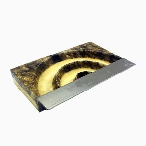 Mid-Century Italian Marble and Steel Ashtray, 1960s