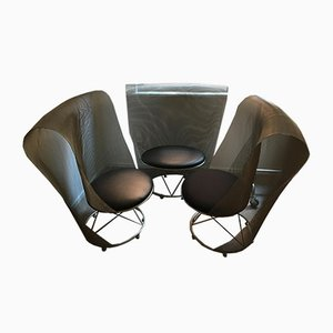Lounge Chairs Attributed to Shiro Kuramata, 1970s, Set of 3