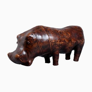 Large Mid-Century Leather Hippo Footstool by Dimitri Omersa for Omersa United Kingdom, 1950s