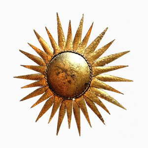 Spanish Gilt Sunburst Sconces, 1950s, Set of 2
