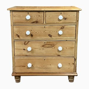 English Fir and White Porcelain Buttons Chest of Drawers, 1920s