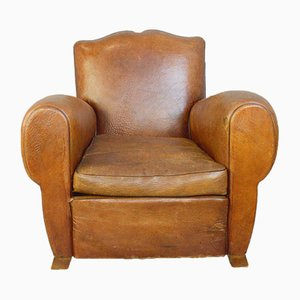 Leather Moustache Back Armchair, 1930s