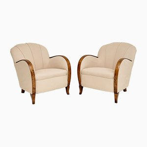 Art Deco Swedish Satin Birch Armchairs, 1930s, Set of 2