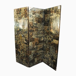 Victorian Two Sided Three Panel Ebonised Folding Screen with Leather Binding