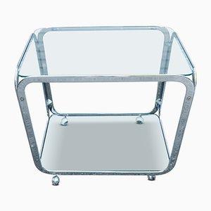 Carrito italiano de dos pisos de acero cromado y vidrio, años 70