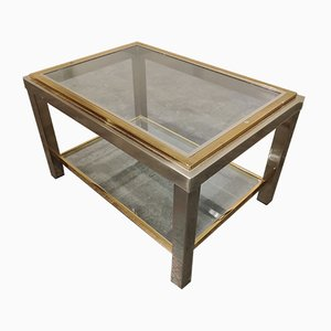 Vintage Brass and Chrome Side Table from Belgo Chrom / Dewulf Selection, 1970s