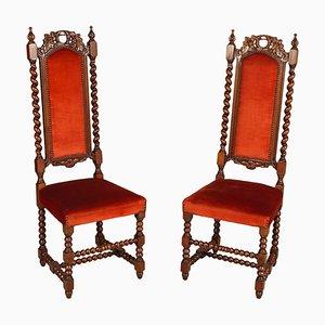 Sedie da ingresso in legno di noce intagliato a mano, XIX secolo, Italia, set di 2