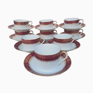 Porcelain Chocolate Cups Set from Giraud, 1930s