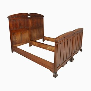 Art Nouveau Italian Walnut Beds from Cadorin, Set of 2