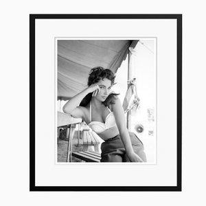 Liz Taylor on Set Framed in Black Archival Pigment Print, 1956