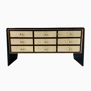 Art Deco Italian Parchment, Maple and Brass Dresser, 1930s
