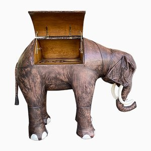 Spanish Leather and Wood Elephant Dry Bar Cabinet by Dimitri Omersa for Valenti, 1970s