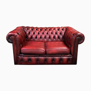 Red Leather 2-Seater Chesterfield Sofa, 1980s