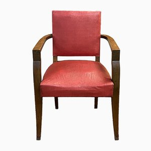 Art Deco Beech and Leatherette Bridge Chair, 1930s