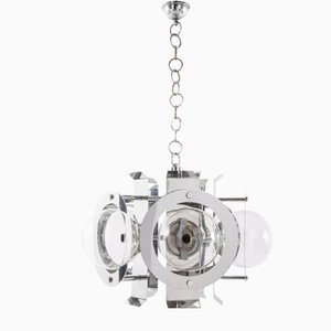 Vintage Chrome-Plated Metal Ceiling Lamp, 1970s
