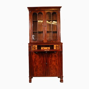 Small 19th Century English Mahogany Bookcase with Secretaire