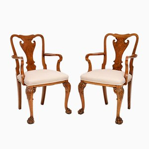 Antique Queen Anne Style Walnut Carver Armchairs, 1920s, Set of 2