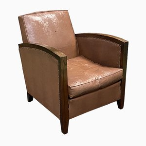 Art Deco Rosewood and Imitation Leather Lounge Chair, 1950s