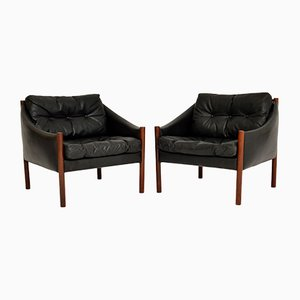 Vintage Danish Rosewood and Leather Armchairs, 1960s, Set of 2