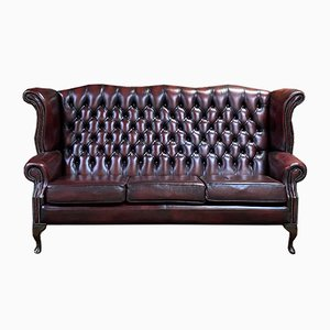English Red Leather Wing 3-Seater Chesterfield Sofa, 1980s