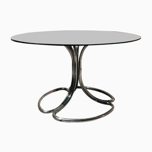 Italian Smoked Glass Dining Table with Chrome-Plated Steel Legs, 1970s