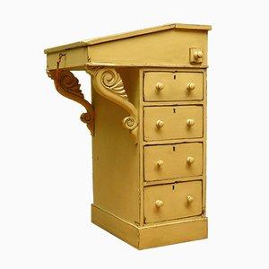 Antiker gelber Lackierter Davenport Schreibtisch