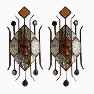 Italian Hammered Glass Sconces from Longobard, 1970s, Set of 2