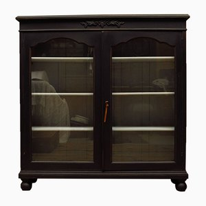 Antique Black Painted Display Cabinet