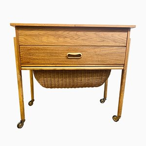 Mid-Century Danish Teak Sewing Table with Basket