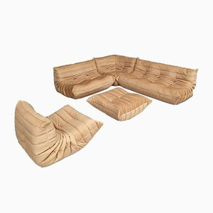 Amber Deluxe Velour Fabric Togo Living Room Set by Michel Ducaroy for Ligne Roset, 1990s, Set of 5
