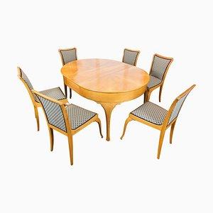 Art Deco Esstisch & Stühle Set aus Birnenholz, 7er Set