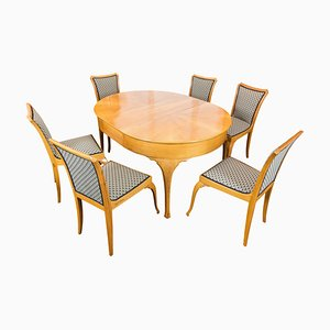 Art Deco Pearwood Dining Table and Chairs Set, Set of 7