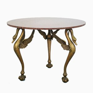 French Round Marble and Brass Dining Table, 1930s