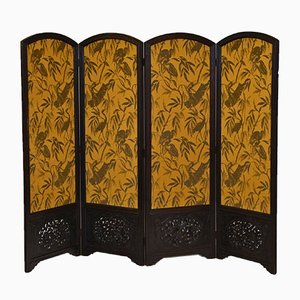 Large Oak Folding Screen with Otori Weave Fabric, 1920s