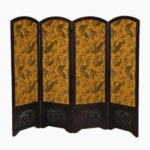 Large Oak Folding Screen with Otori Weave Fabric, 1920s