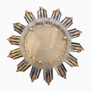 Gilded Crystal Sun Flower Sconce from Venini, 1980s