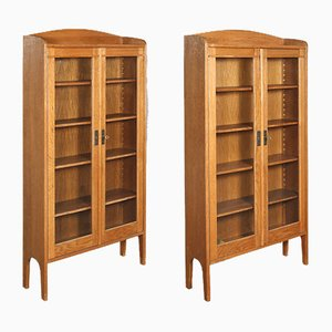 Antique German Oak Bookcases, 1920s, Set of 4