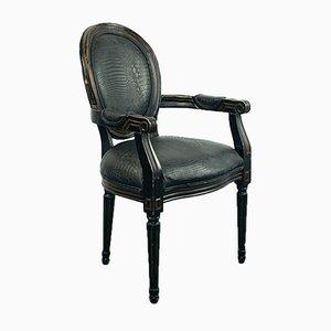 Vintage Art Deco Black Wooden Desk Chair, 1980s