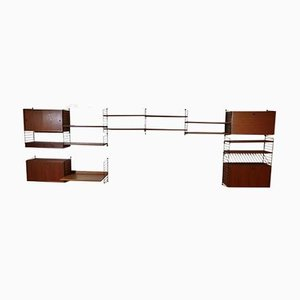 "Teak String Wall Unit by Strinning, Kajsa & Nils ""Nisse"" for String, 1960s"