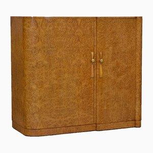 Armario compacto Art Déco de madera nudosa de arce, años 30