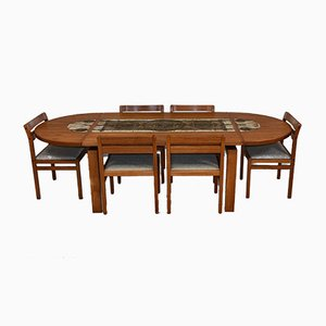 Danish Teak and Ox Art Tiled Abstract Extendable Dining Table and Chairs Set from Ansager Mobler, 1970s, Set of 7