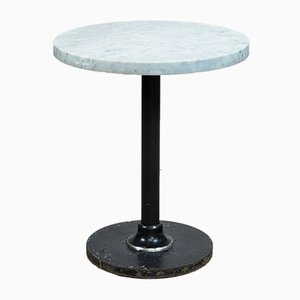 French Iron Bistro Table with White Marble Top, 1950s