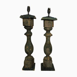 19th Century French Painted Table Lamps, Set of 2
