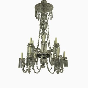 Antique Edwardian Cut Glass Chandelier