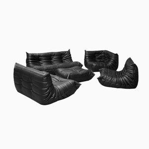 Juego de sofás Togo vintage de cuero negro de Michel Ducaroy para Ligne Roset